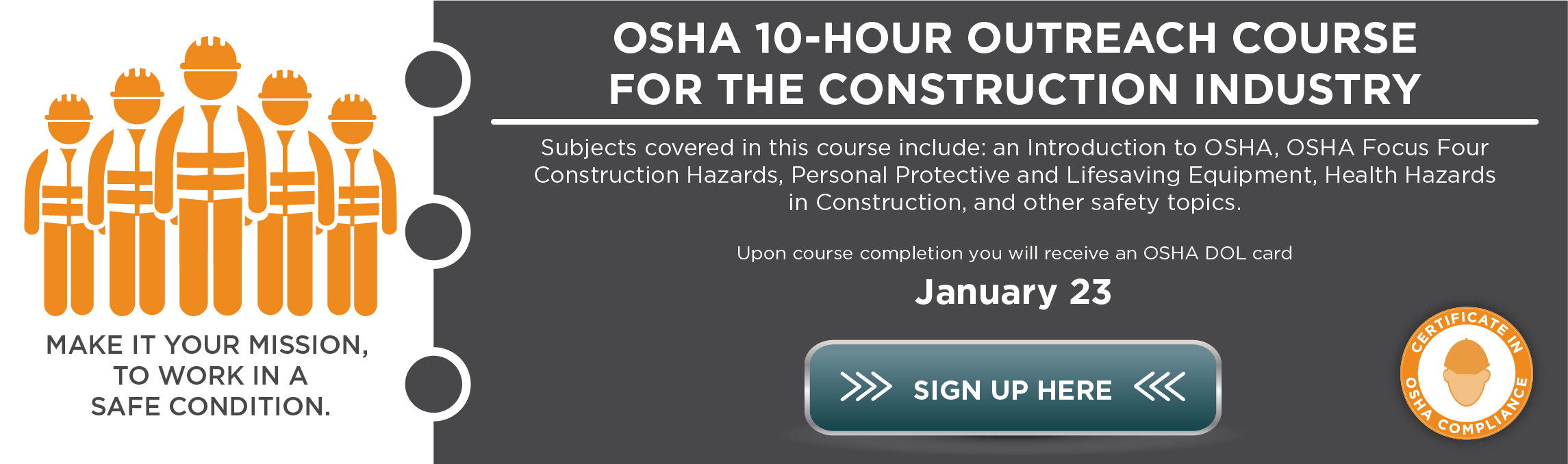 OSHA 10-HR Outreach Course for Construction Industry